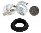 LED Step Lights - Black 40mm Metal Trimmed Mini Round Deck / Step Accent Light - 0.5 Watt: Back View