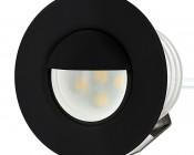 LED Step Lights - Black 40mm Metal Trim with Hood Mini Round Deck / Step Accent Light - 0.5 Watt