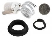 LED Step Lights - Black 40mm Metal Trim with Hood Mini Round Deck / Step Accent Light - 1 Watt: Back View