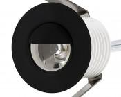LED Step Lights - Black 40mm Metal Trim with Hood Mini Round Deck / Step Accent Light - 1 Watt