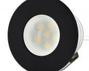 LED Step Lights - Black 40mm Metal Trimmed Mini Round Deck / Step Accent Light - 0.5 Watt
