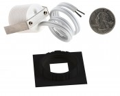 LED Step Lights - Black 40mm Plactic Square Trimmed Mini Round Deck / Step Accent Light - 1 Watt: Back View