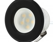 LED Step Lights - Black 40mm Plactic Trimmed Mini Round Deck / Step Accent Light - 0.5 Watt