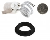 LED Step Lights - Black 40mm Plactic Trimmed Mini Round Deck / Step Accent Light - 1 Watt: Back View