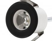 LED Step Lights - Black 40mm Plactic Trimmed Mini Round Deck / Step Accent Light - 1 Watt