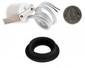 LED Step Lights - Black 40mm Metal Trimmed Mini Round Deck / Step Accent Light - 1 Watt: Back View