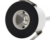 LED Step Lights - Black 40mm Metal Trimmed Mini Round Deck / Step Accent Light - 1 Watt