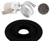LED Step Lights - Black 70mm Metal Trimmed Mini Round Deck / Step Accent Light - 1 Watt: Back View