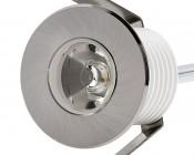 LED Step Lights - Brushed Nickel 40mm Metal Trimmed Mini Round Deck / Step Accent Light - 1 Watt