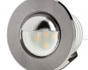 LED Step Lights - Brushed Nickel 40mm Metal Trim with Hood Mini Round Deck / Step Accent Light - 0.5 Watt