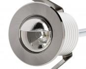 LED Step Lights - Brushed Nickel 40mm Metal Trim with Hood Mini Round Deck / Step Accent Light - 1 Watt