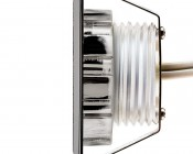LED Step Lights - Brushed Nickel 40mm Plactic Square Trimmed Mini Round Deck / Step Accent Light - 0.5 Watt: Profile View