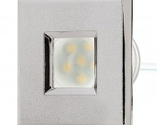 LED Step Lights - Brushed Nickel 40mm Plactic Square Trimmed Mini Round Deck / Step Accent Light - 0.5 Watt