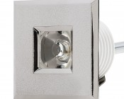 LED Step Lights - Brushed Nickel 40mm Plactic Square Trimmed Mini Round Deck / Step Accent Light - 1 Watt