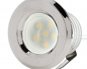 LED Step Lights - Brushed Nickel 40mm Plactic Trimmed Mini Round Deck / Step Accent Light - 0.5 Watt