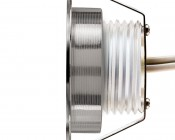 LED Step Lights - Brushed Nickel 40mm Metal Trimmed Mini Round Deck / Step Accent Light - 0.5 Watt-Profile View: 360° View.