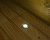 LED Step Lights - Brushed Nickel 40mm Metal Trimmed Mini Round Deck / Step Accent Light - 1 Watt: Shown Installed In Deck And On.