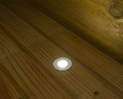 LED Step Lights - White 40mm Metal Trimmed Mini Round Deck / Step Accent Light - 1 Watt: Installed In Deck And Shown On.