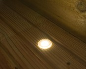 LED Step Lights - Frosted 40mm Plactic Trimmed Mini Round Deck / Step Accent Light - 1 Watt: Shown Installed On Deck And On.