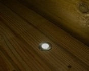 LED Step Lights - Brushed Nickel 40mm Metal Trimmed Mini Round Deck / Step Accent Light - 0.5 Watt: Shown Installed On Deck And On.