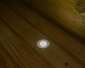LED Step Lights - White 40mm Metal Trimmed Mini Round Deck / Step Accent Light - 0.5 Watt: Shown Installed On Deck And On.