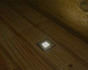 LED Step Lights - Brushed Nickel 40mm Plactic Square Trimmed Mini Round Deck / Step Accent Light - 0.5 Watt: Shown Installed On Deck And On.