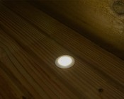 LED Step Lights - White 40mm Plactic Trimmed Mini Round Deck / Step Accent Light - 0.5 Watt: Shown Installed On Deck And On.