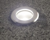 LED Step Lights - Brushed Nickel 40mm Plactic Trimmed Mini Round Deck / Step Accent Light - 1 Watt: Detail Of Installed Light.