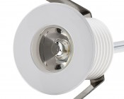 LED Step Lights - White 40mm Metal Trimmed Mini Round Deck / Step Accent Light - 1 Watt