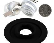 LED Step Lights - Black 70mm Metal Trimmed Mini Round Deck / Step Accent Light - 0.5 Watt: Back View