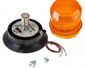 "4-3/4"" Amber LED Strobe Light Beacon with 18 LEDs: Remove Lens To Access LEDs, Mounting Screws Included"