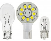 921 LED Bulb, 9 LED Disc Type Wedge Base LED Bulb: Front View With Size Comparison To 194 & 921 Stock Bulbs