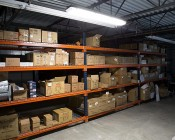 T8 LED Vapor Proof Light Fixture with 4 T8 Tubes - Industrial LED Light - 4' Long: Installed in Warehouse