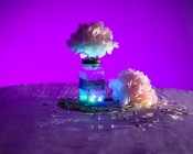 Submersible RGB LED Floral Light illuminates table centerpiece