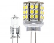 LED Tower G4 Lamp, 45 High Power LEDs with incandescent bulb for comparison