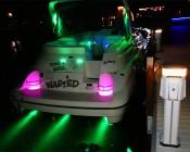 Underwater LED Light installed on transom to illuminate water