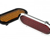 PTF series Truck Light w/ Flange: Available In Black Or Chrome Flange, Red or Amber