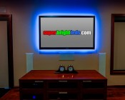 NFLS-SS-x300-1/2M series 30 High Power LED Super Slim Flexible Light Strip 1/2m Sample: Blue-Installed Behind TV