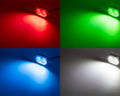 LED Underwater Boat Lights and Dock Lights - Double Lens - 120W: Shown On In Red, Green, Blue, And White.