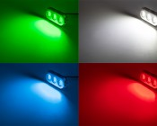 LED Underwater Boat Lights and Dock Lights - Triple Lens - 180W: Shown On In Green, White, Red, And Blue.