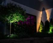 G-LUX series 8 Watt LED Spot Light - Installed Below Front Tree, Back Trees (GLUX-x6W-S40)