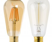 LED Vintage Light Bulb - Gold Tint ST18 Shape - Edison Style Antique Bulb with Filament LED - Dimmable: Profile View with Size Comparison to Incandescent Bulb