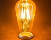 LED Vintage Light Bulb - Gold Tint ST18 Shape - Edison Style Antique Bulb with Filament LED - Dimmable: Turned On