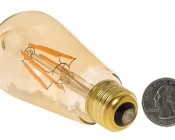 LED Vintage Light Bulb - Gold Tint ST18 Shape - Edison Style Antique Bulb with Filament LED - Dimmable: Back View.