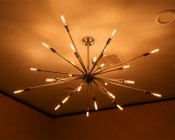 LED Vintage Light Bulb - Radio Style T6 Candelabra LED Bulb w/ Filament LED - Dimmable: Shown Installed In Sputnik Type Ceiling Fixture In Ultra Warm White.
