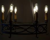 LED Vintage Light Bulb - T8 Shape - Radio Style Candelabra LED Bulb with Filament LED: Shown Installed In Vintage Chandelier.