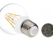 LED Vintage Light Bulb - A19 LED Globe Bulb w/ Filament LED - 8W: Back View with Size Comparison