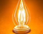 LED Vintage Light Bulb - Decorative F15 LED Bulb w/ Filament LED - Dimmable Blunt Tip Candle Bulb: Turned On