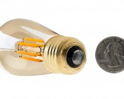 LED Vintage Light Bulb - Gold Tint S14 Shape - Signage Style LED Bulb with Filament LED: Back View