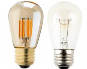 LED Vintage Light Bulb - S14 LED Sign Bulb w/ Gold Tint - Filament LED - Dimmable: Profile View with Size Comparison to Incandescent Bulb